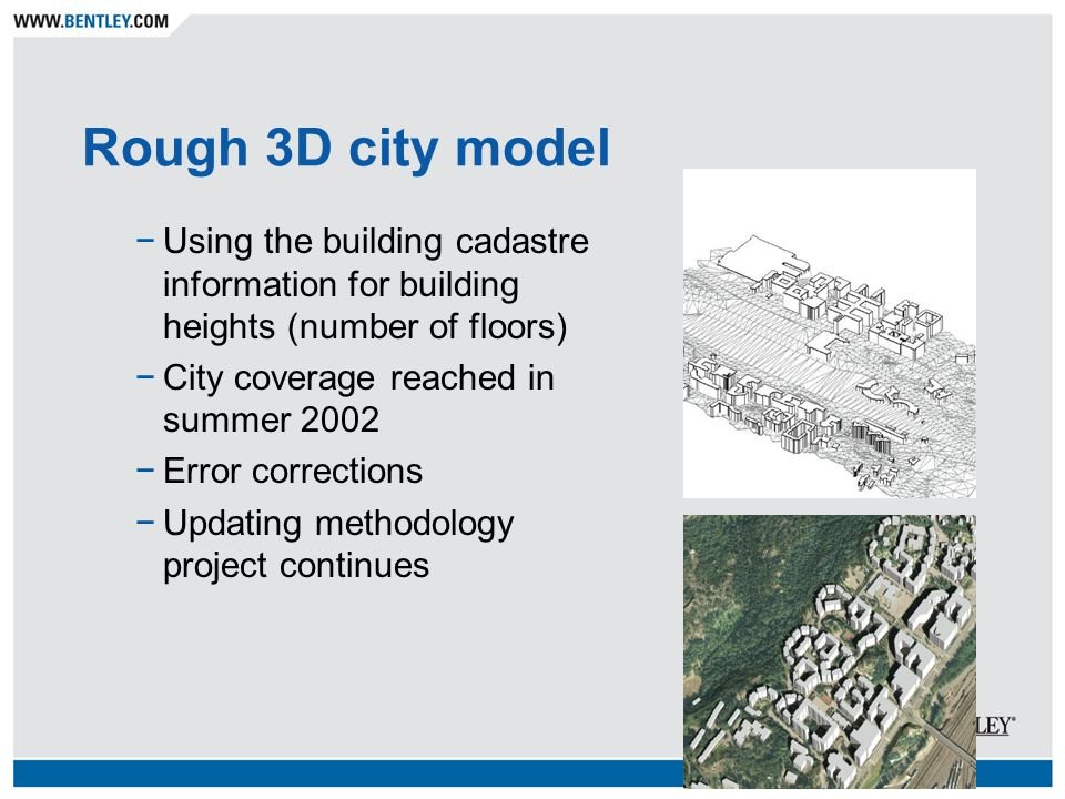 Rough 3D city model −Using the building cadastre information for building heights (number of floors) −City coverage reached in summer 2002 −Error corrections −Updating methodology project continues