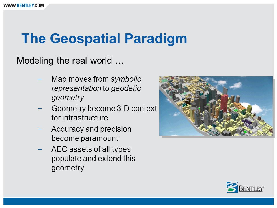 The Geospatial Paradigm Modeling the real world … −Map moves from symbolic representation to geodetic geometry −Geometry become 3-D context for infras