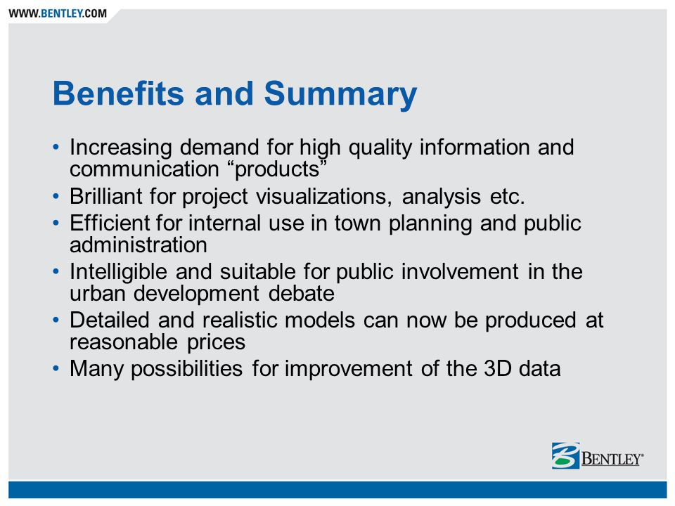 "Benefits and Summary Increasing demand for high quality information and communication ""products"" Brilliant for project visualizations, analysis etc. E"
