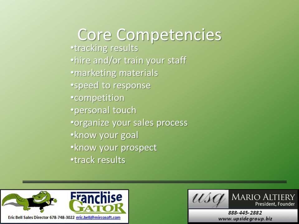 Core Competencies tracking results tracking results hire and/or train your staff hire and/or train your staff marketing materials marketing materials speed to response speed to response competition competition personal touch personal touch organize your sales process organize your sales process know your goal know your goal know your prospect know your prospect track results track results