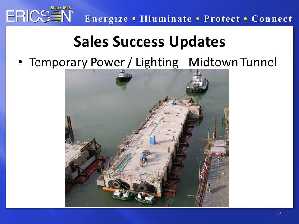 Temporary Power / Lighting - Midtown Tunnel 22 Sales Success Updates