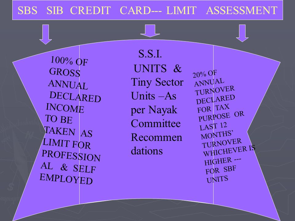 SBS SIB CREDIT CARD--- LIMIT ASSESSMENT S.S.I. UNITS & Tiny Sector Units –As per Nayak Committee Recommen dations 100% OF GROSS ANNUAL DECLARED INCOME