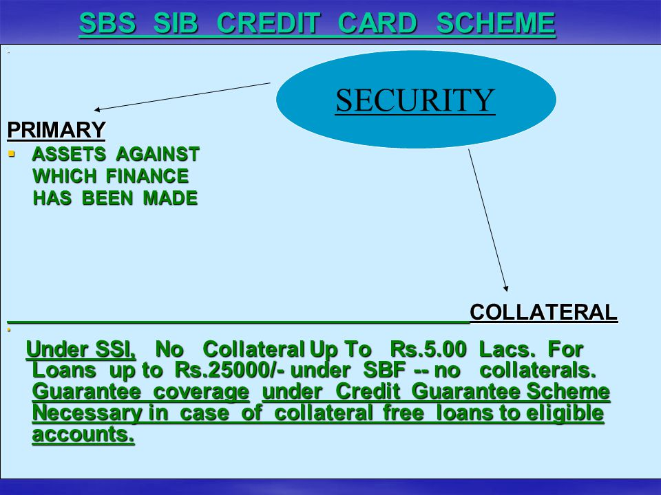SBS SIB CREDIT CARD SCHEME **PRIMARY  ASSETS AGAINST WHICH FINANCE WHICH FINANCE HAS BEEN MADE HAS BEEN MADECOLLATERAL  Under SSI, No Collateral Up To Rs.5.00 Lacs.