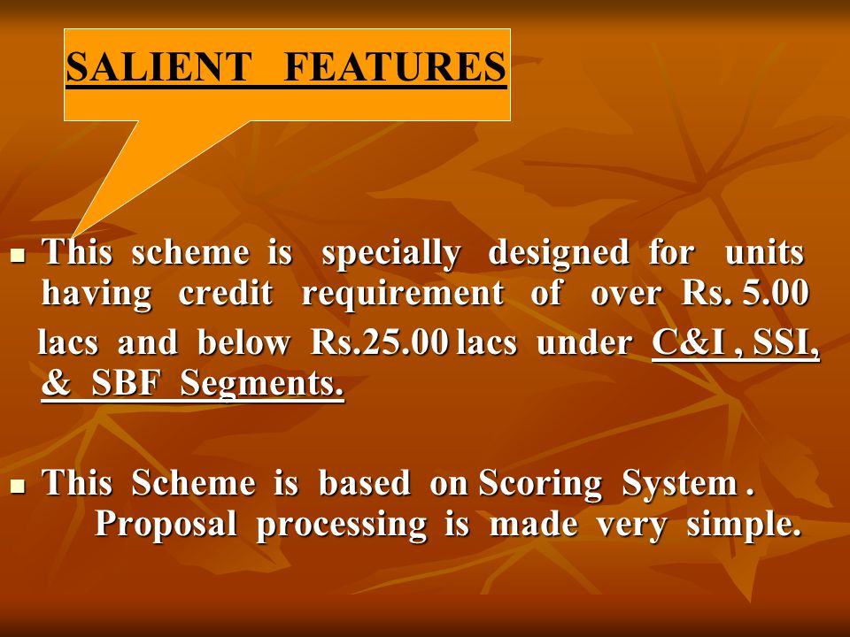 This scheme is specially designed for units having credit requirement of over Rs. 5.00 This scheme is specially designed for units having credit requi