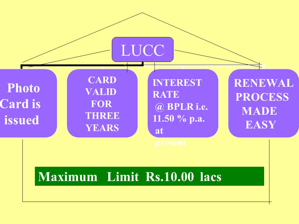 LAGHU UDHYAMI CREDIT CARD SCHEME WE ISSUE A PHOTO CARD WITH LIMIT & VALIDITY PERIOD OF CREDIT FACILITY TO THE ELIGIBLE LOAN CUSTOMERS. THE CREDIT CARD
