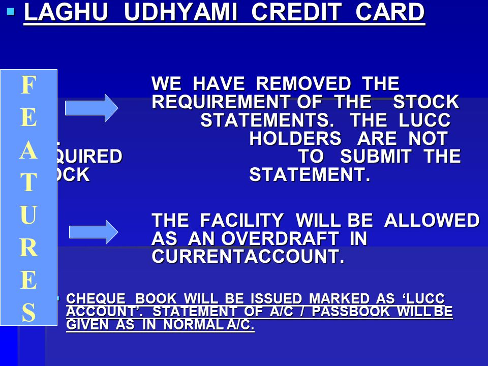  LAGHU UDHYAMI CREDIT CARD  WE HAVE REMOVED THE REQUIREMENT OF THE STOCK STATEMENTS.