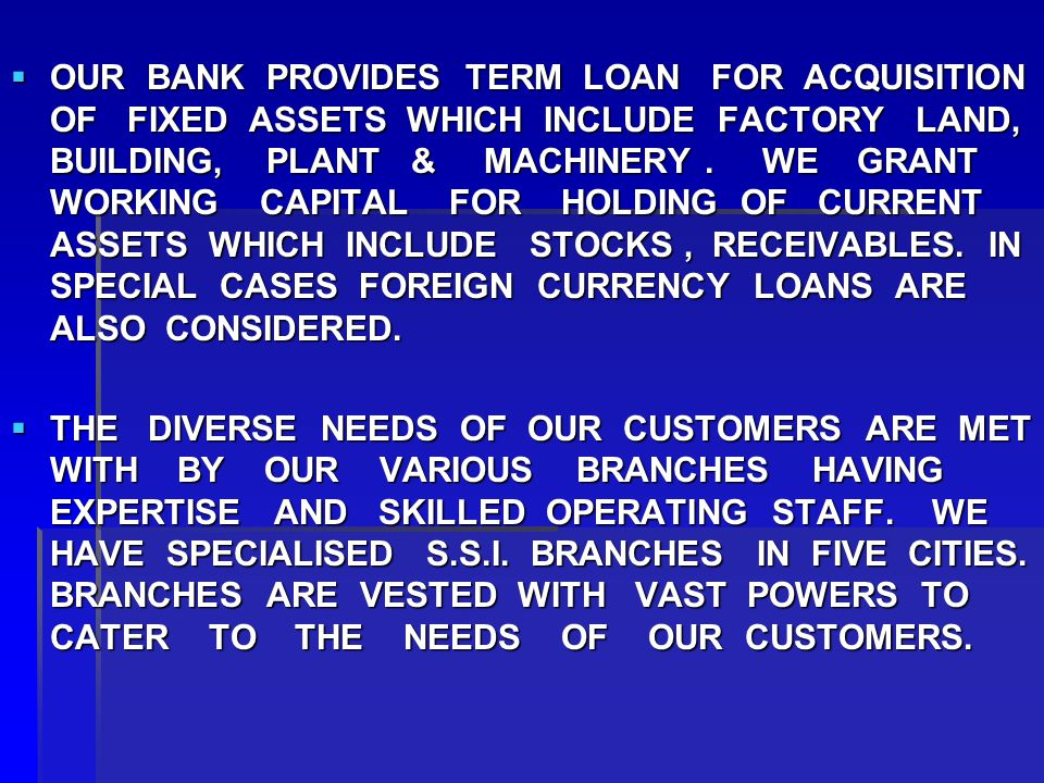  OUR BANK PROVIDES TERM LOAN FOR ACQUISITION OF FIXED ASSETS WHICH INCLUDE FACTORY LAND, BUILDING, PLANT & MACHINERY.
