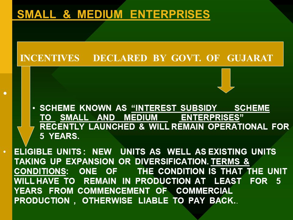 SMALL & MEDIUM ENTERPRISES SCHEME KNOWN AS INTEREST SUBSIDY SCHEME TO SMALL AND MEDIUM ENTERPRISES RECENTLY LAUNCHED & WILL REMAIN OPERATIONAL FOR 5 YEARS.