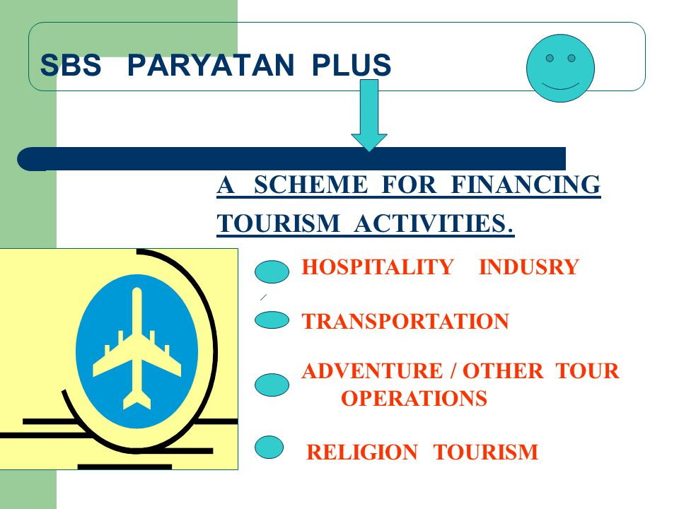 SBS PARYATAN PLUS A SCHEME FOR FINANCING TOURISM ACTIVITIES. HOSPITALITY INDUSRY TRANSPORTATION ADVENTURE / OTHER TOUR OPERATIONS RELIGION TOURISM
