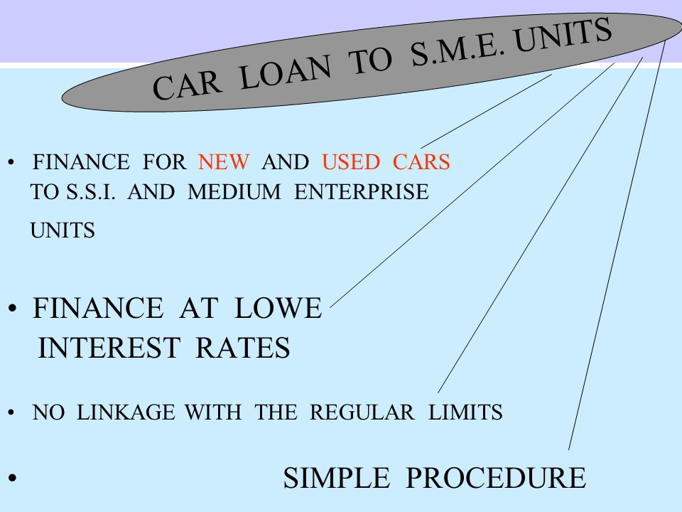 FINANCE FOR NEW AND USED CARS TO S.S.I.