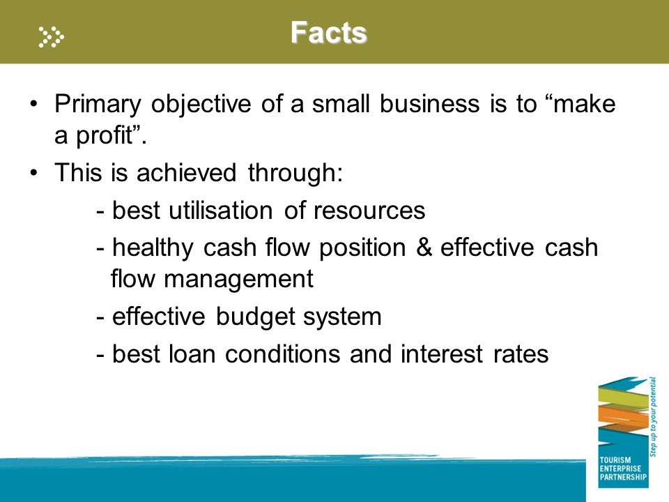 Facts Primary objective of a small business is to make a profit .