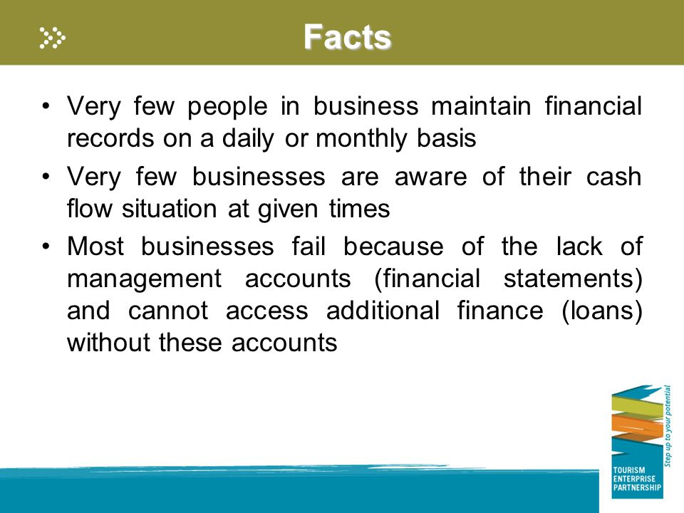 Facts Very few people in business maintain financial records on a daily or monthly basis Very few businesses are aware of their cash flow situation at given times Most businesses fail because of the lack of management accounts (financial statements) and cannot access additional finance (loans) without these accounts