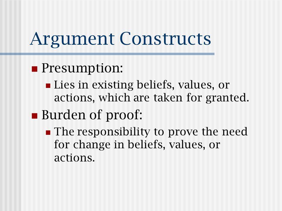 Models of Presumption Legislative model.Passing new law requires burden of proof.