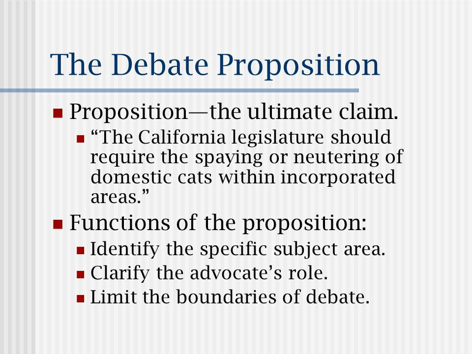 Characteristics The proposition must be debatable.