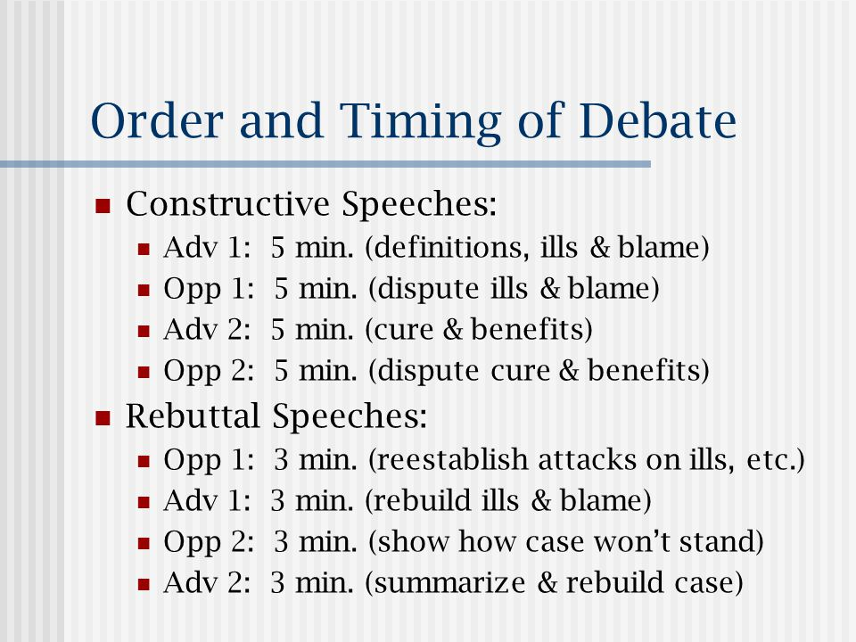 Debate Outline is Required Each person should prepare an outline of his or her part of the debate content.