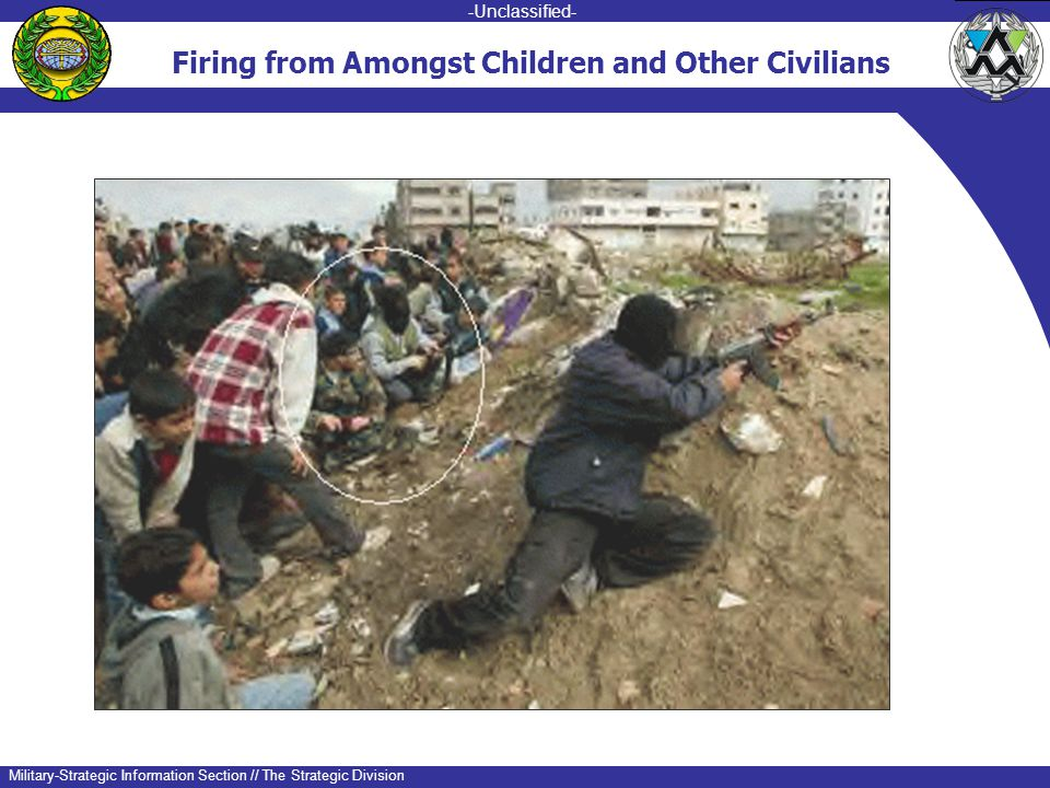 -unclassified- -Unclassified- Military-Strategic Information Section // The Strategic Division Firing from Amongst Children and Other Civilians