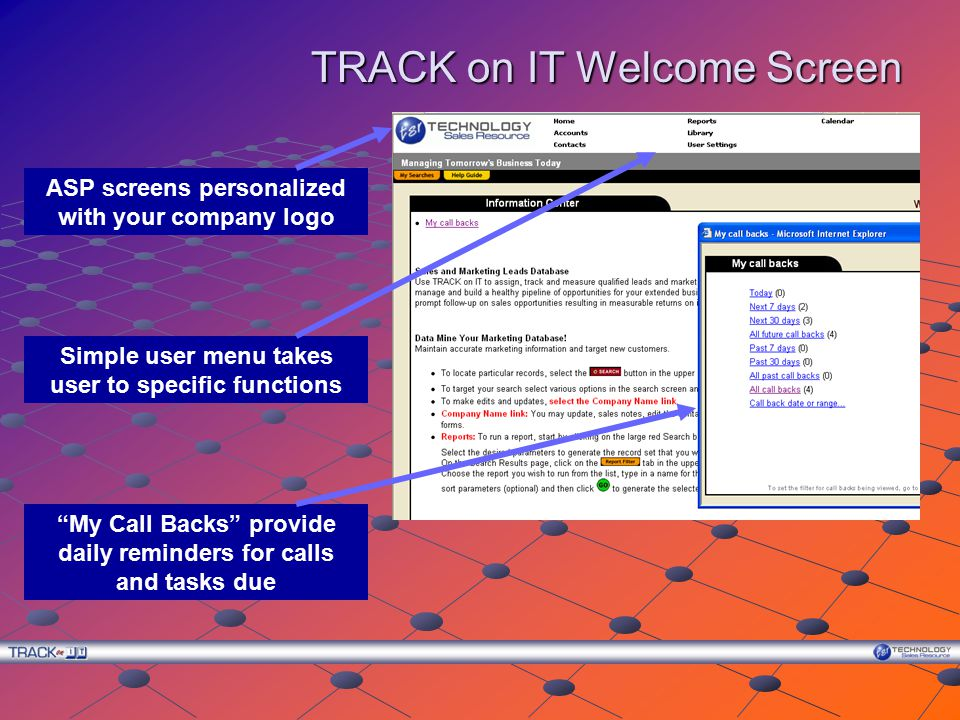 TRACK on IT Welcome Screen ASP screens personalized with your company logo My Call Backs provide daily reminders for calls and tasks due Simple user menu takes user to specific functions