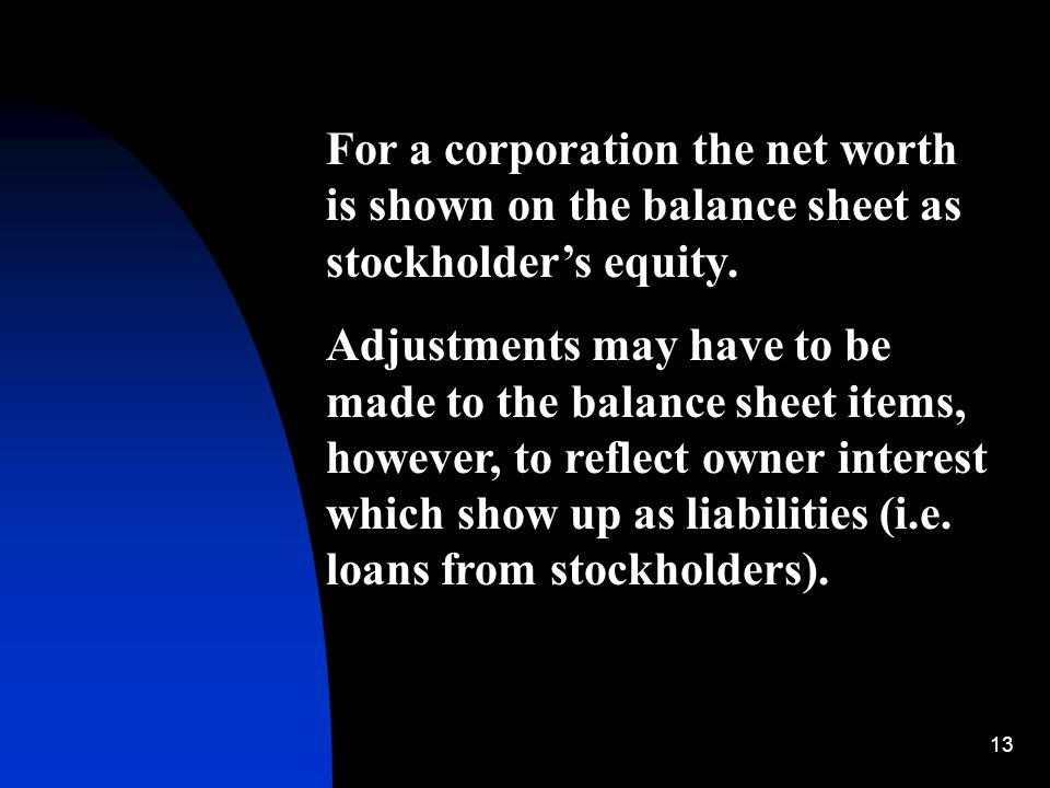 13 For a corporation the net worth is shown on the balance sheet as stockholder's equity. Adjustments may have to be made to the balance sheet items,