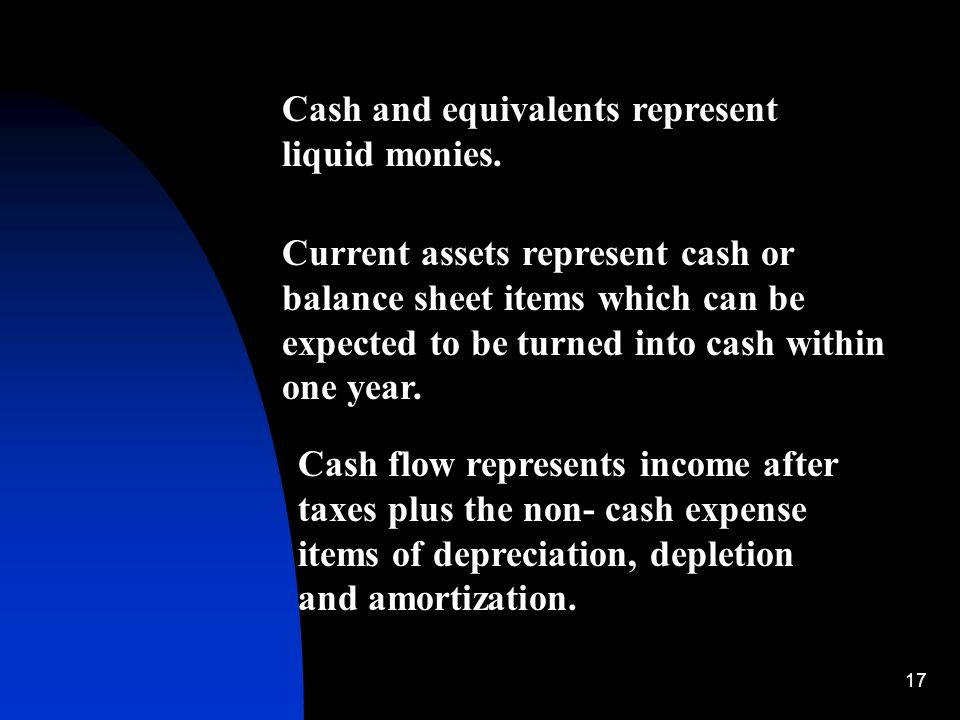 17 Cash and equivalents represent liquid monies. Current assets represent cash or balance sheet items which can be expected to be turned into cash wit