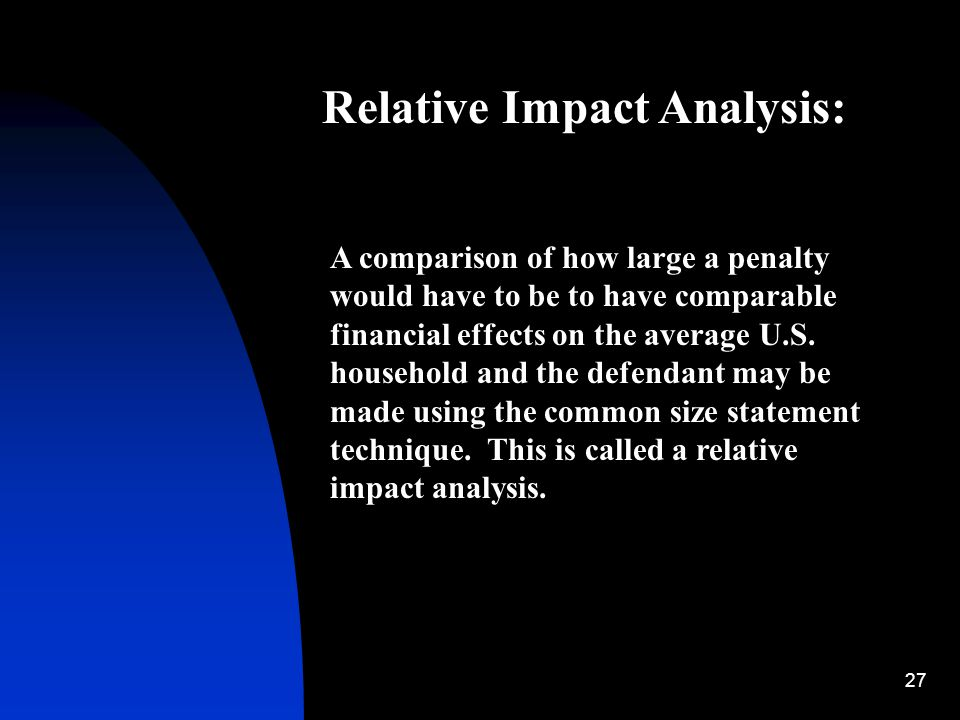 27 Relative Impact Analysis: A comparison of how large a penalty would have to be to have comparable financial effects on the average U.S. household a