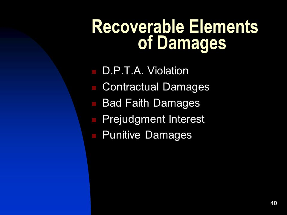 40 Recoverable Elements of Damages D.P.T.A.