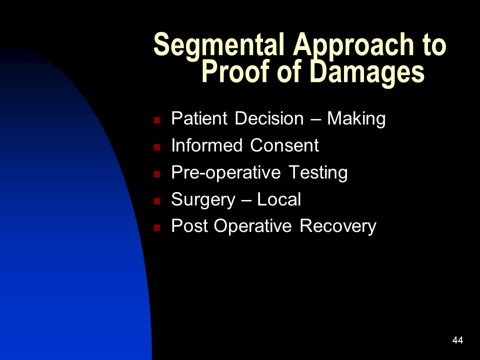 44 Segmental Approach to Proof of Damages Patient Decision – Making Informed Consent Pre-operative Testing Surgery – Local Post Operative Recovery