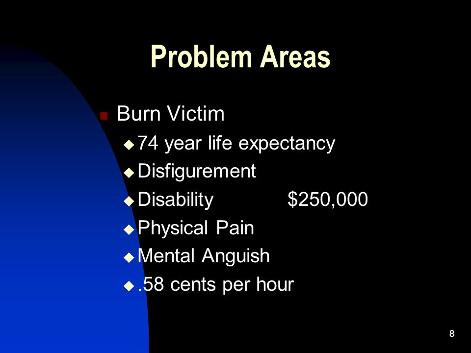 8 Problem Areas Burn Victim  74 year life expectancy  Disfigurement  Disability$250,000  Physical Pain  Mental Anguish .58 cents per hour