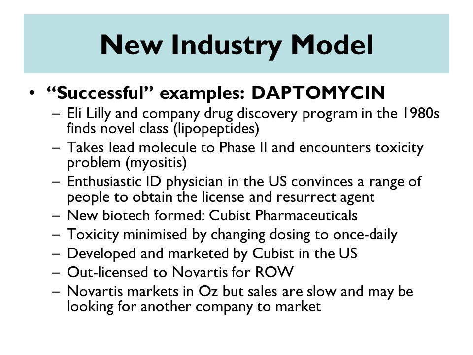 New Industry Model Successful examples: DAPTOMYCIN –Eli Lilly and company drug discovery program in the 1980s finds novel class (lipopeptides) –Takes lead molecule to Phase II and encounters toxicity problem (myositis) –Enthusiastic ID physician in the US convinces a range of people to obtain the license and resurrect agent –New biotech formed: Cubist Pharmaceuticals –Toxicity minimised by changing dosing to once-daily –Developed and marketed by Cubist in the US –Out-licensed to Novartis for ROW –Novartis markets in Oz but sales are slow and may be looking for another company to market