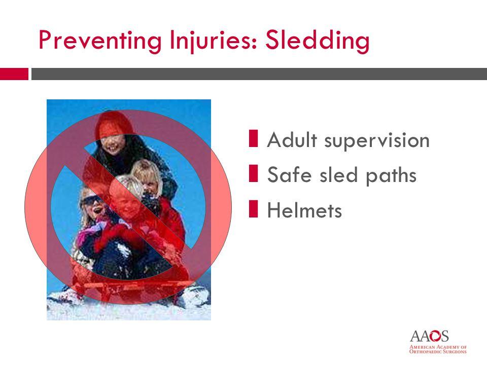 Preventing Injuries: Sledding zAdult supervision zSafe sled paths zHelmets