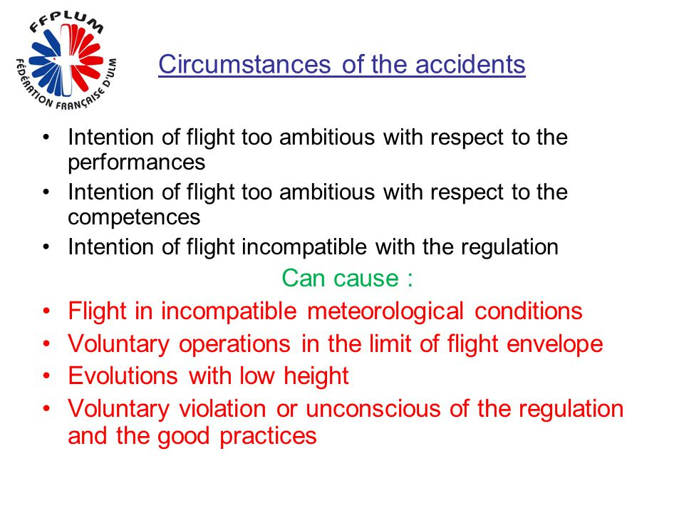 Circumstances of the accidents Intention of flight too ambitious with respect to the performances Intention of flight too ambitious with respect to th