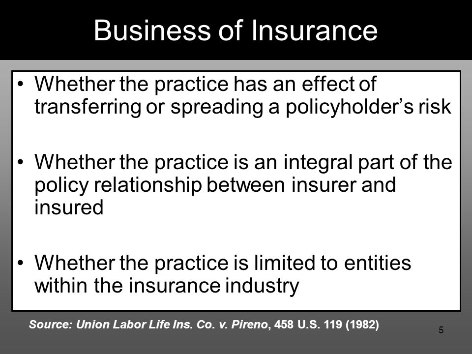 5 Business of Insurance Whether the practice has an effect of transferring or spreading a policyholder's risk Whether the practice is an integral part of the policy relationship between insurer and insured Whether the practice is limited to entities within the insurance industry Source: Union Labor Life Ins.