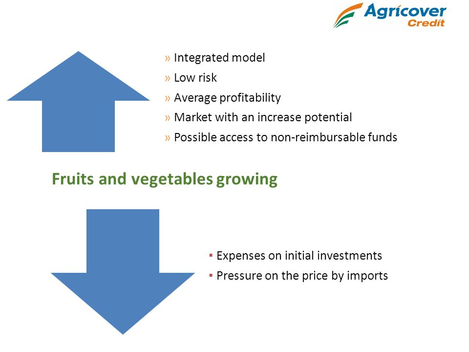 » Integrated model » Low risk » Average profitability » Market with an increase potential » Possible access to non-reimbursable funds ▪ Expenses on initial investments ▪ Pressure on the price by imports Fruits and vegetables growing