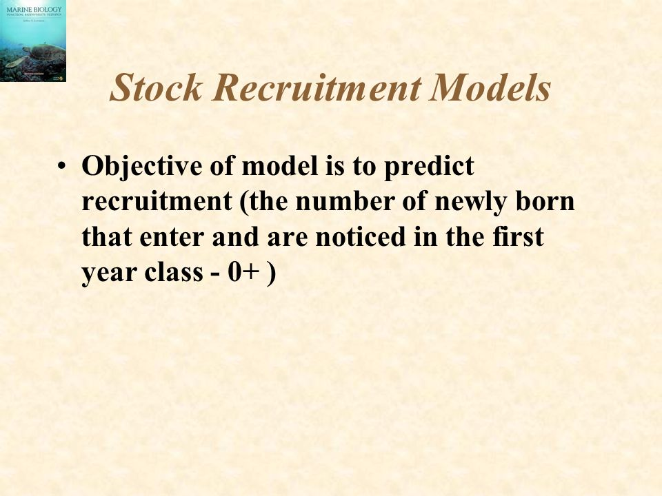 Stock Recruitment Models Objective of model is to predict recruitment (the number of newly born that enter and are noticed in the first year class - 0+ )