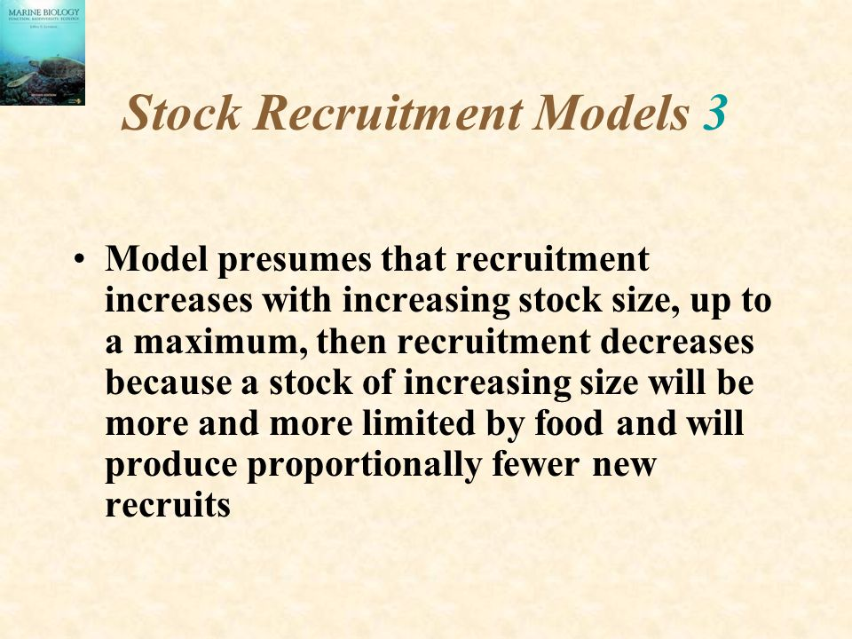Stock Recruitment Models 3 Model presumes that recruitment increases with increasing stock size, up to a maximum, then recruitment decreases because a stock of increasing size will be more and more limited by food and will produce proportionally fewer new recruits