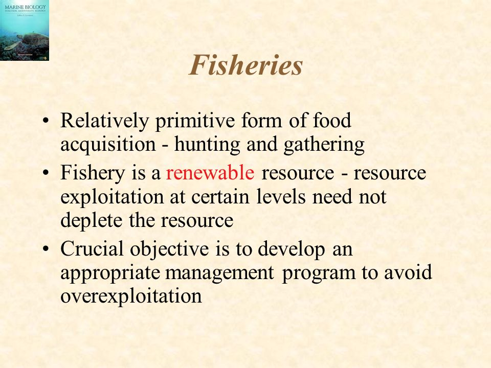 Fisheries Relatively primitive form of food acquisition - hunting and gathering Fishery is a renewable resource - resource exploitation at certain levels need not deplete the resource Crucial objective is to develop an appropriate management program to avoid overexploitation