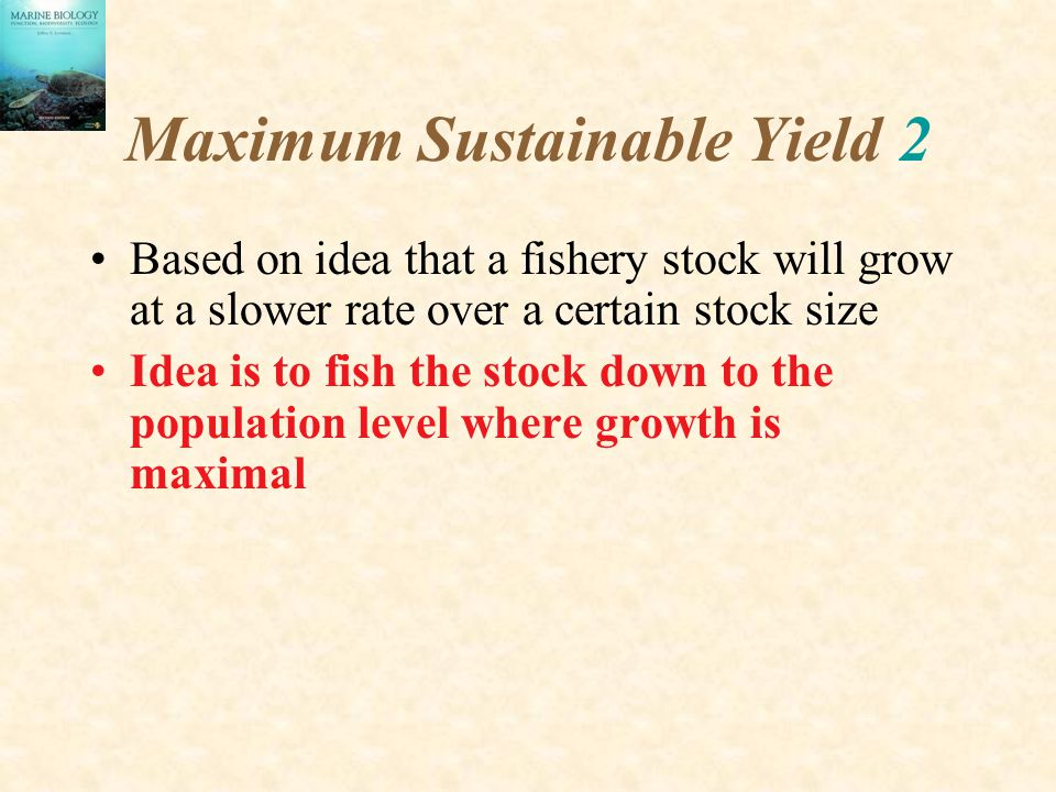 Maximum Sustainable Yield 2 Based on idea that a fishery stock will grow at a slower rate over a certain stock size Idea is to fish the stock down to the population level where growth is maximal
