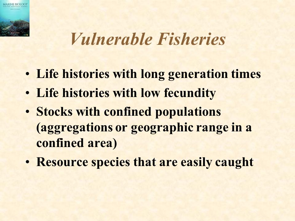 Vulnerable Fisheries Life histories with long generation times Life histories with low fecundity Stocks with confined populations (aggregations or geographic range in a confined area) Resource species that are easily caught