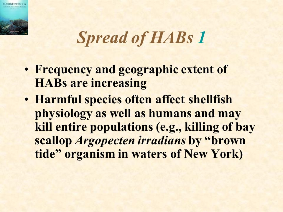 Spread of HABs 1 Frequency and geographic extent of HABs are increasing Harmful species often affect shellfish physiology as well as humans and may kill entire populations (e.g., killing of bay scallop Argopecten irradians by brown tide organism in waters of New York)