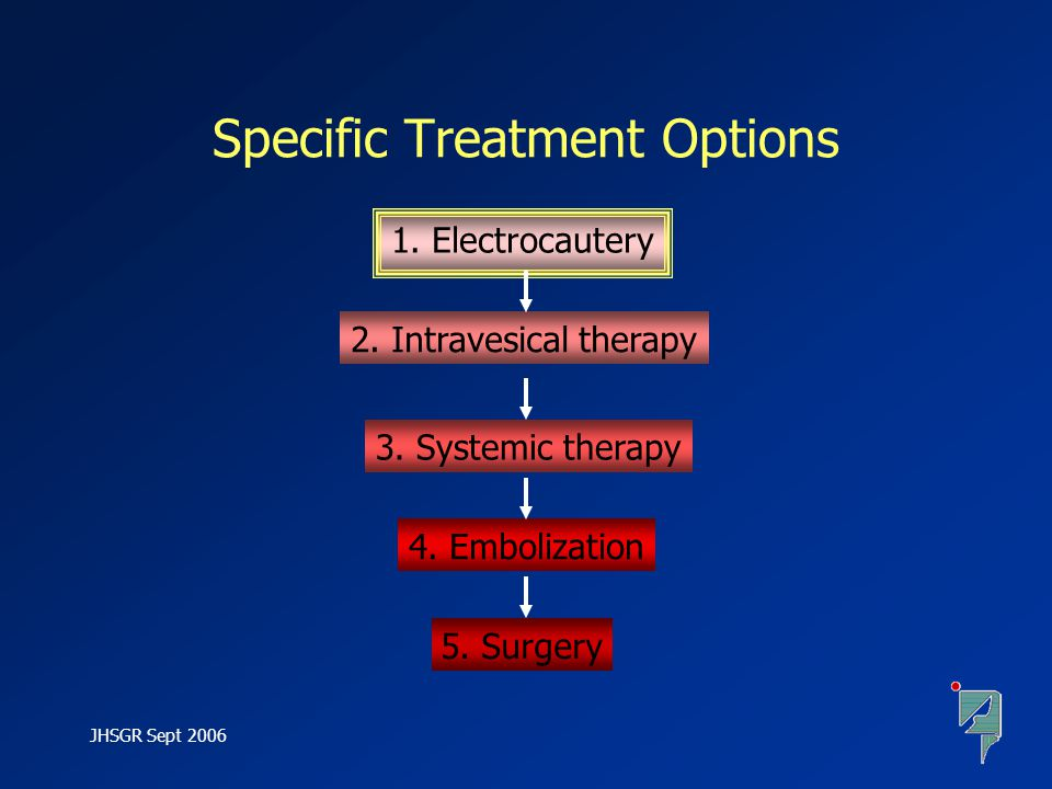 JHSGR Sept 2006 1.Electrocautery 2. Intravesical therapy 3.