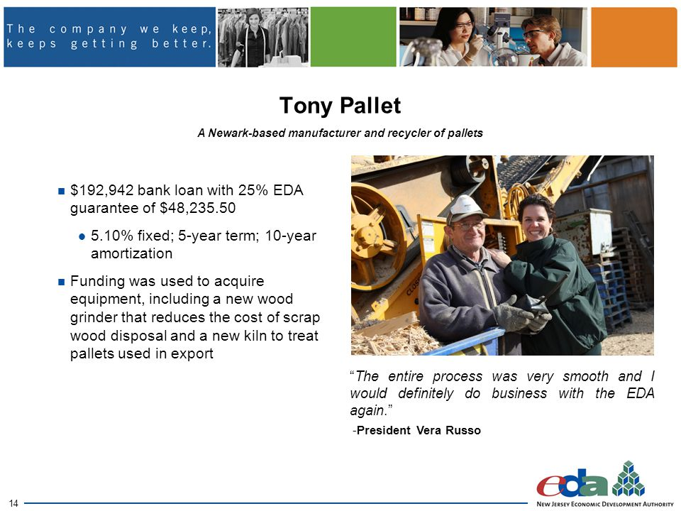 14 Tony Pallet $192,942 bank loan with 25% EDA guarantee of $48,235.50 5.10% fixed; 5-year term; 10-year amortization Funding was used to acquire equipment, including a new wood grinder that reduces the cost of scrap wood disposal and a new kiln to treat pallets used in export A Newark-based manufacturer and recycler of pallets The entire process was very smooth and I would definitely do business with the EDA again. -President Vera Russo