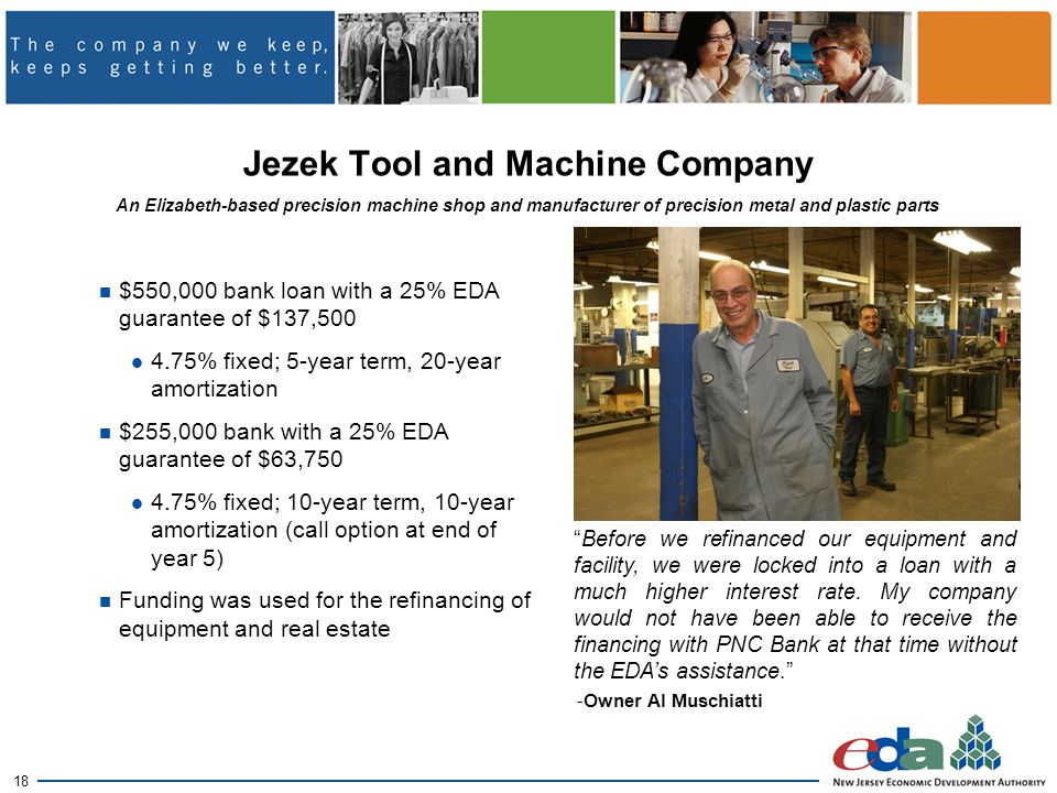 18 Jezek Tool and Machine Company $550,000 bank loan with a 25% EDA guarantee of $137,500 4.75% fixed; 5-year term, 20-year amortization $255,000 bank with a 25% EDA guarantee of $63,750 4.75% fixed; 10-year term, 10-year amortization (call option at end of year 5) Funding was used for the refinancing of equipment and real estate An Elizabeth-based precision machine shop and manufacturer of precision metal and plastic parts Before we refinanced our equipment and facility, we were locked into a loan with a much higher interest rate.
