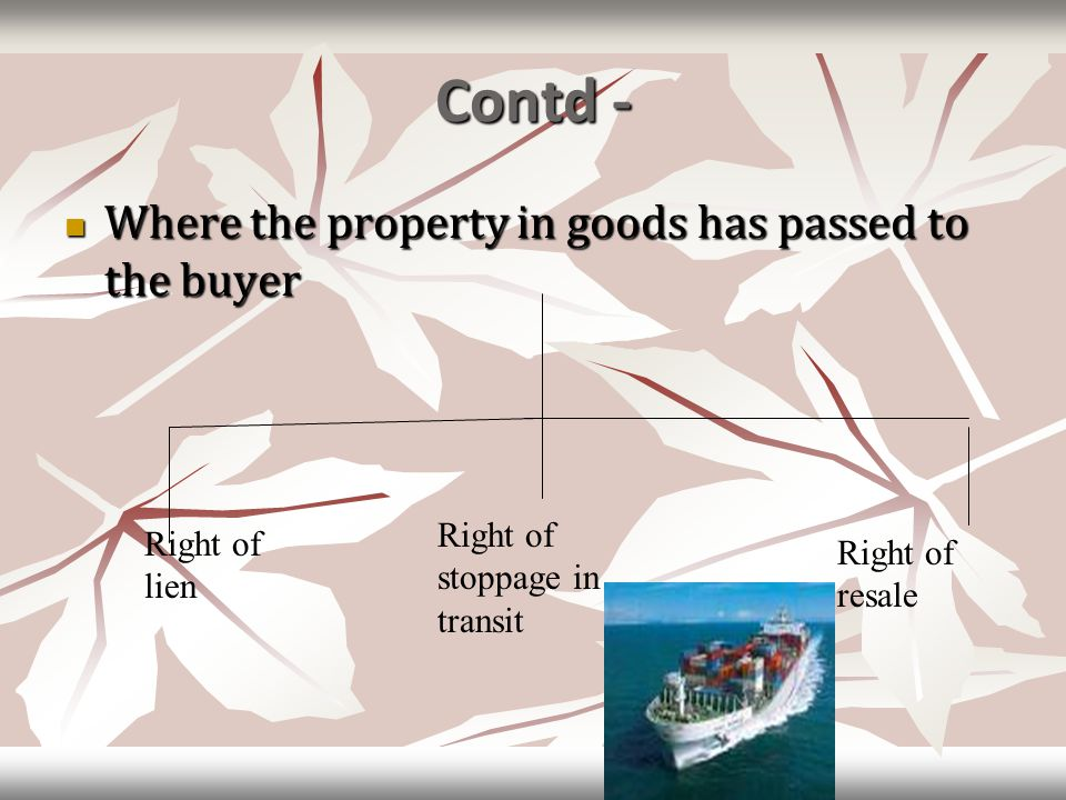 Contd - Where the property in goods has passed to the buyer Where the property in goods has passed to the buyer Right of lien Right of stoppage in tra