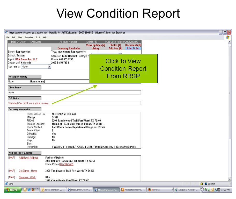 View Condition Report Click to View Condition Report From RRSP