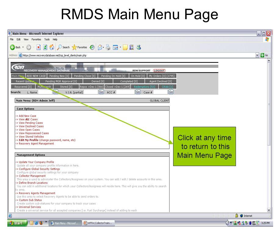 RMDS Main Menu Page Click at any time to return to this Main Menu Page