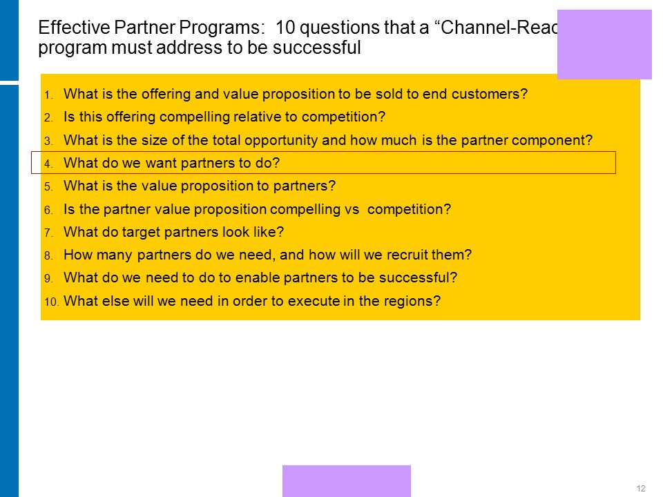 HP Confidential12 Effective Partner Programs: 10 questions that a Channel-Ready program must address to be successful 1.