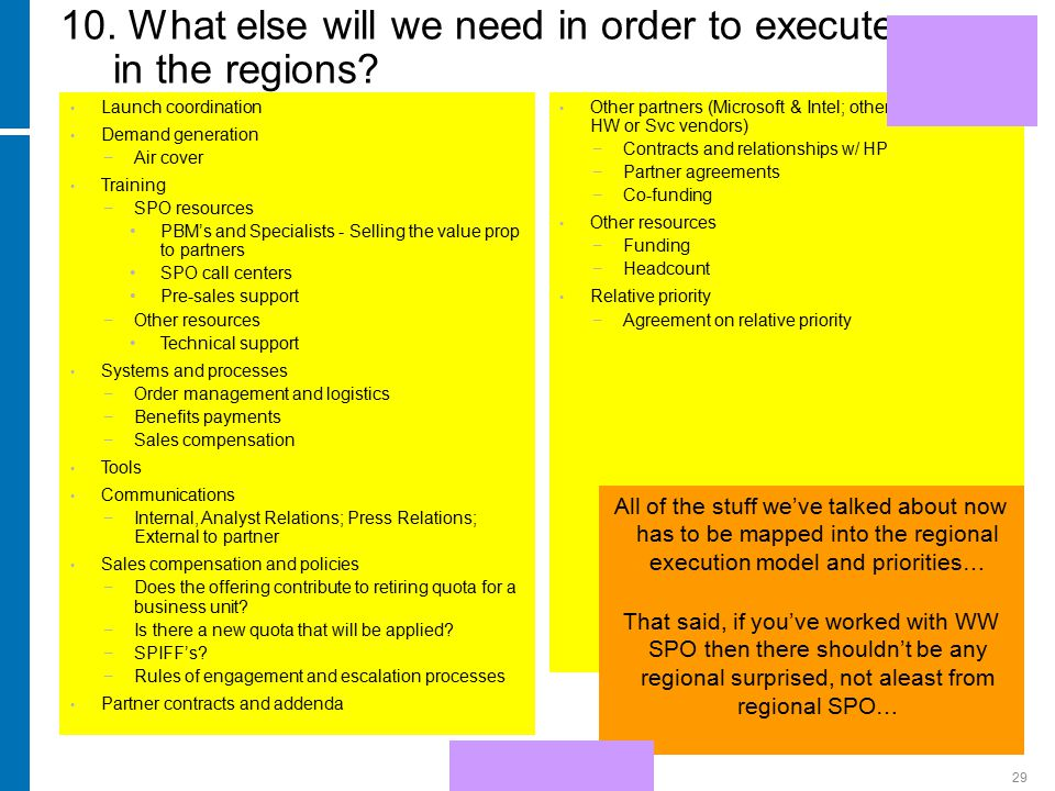 HP Confidential29 10. What else will we need in order to execute in the regions.