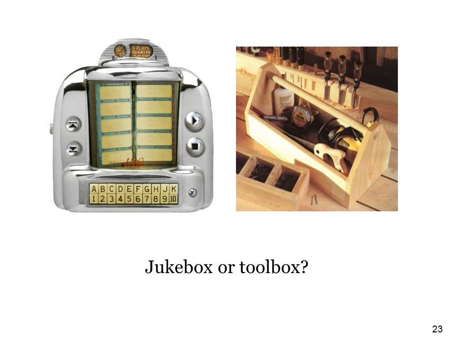 23 Jukebox or toolbox