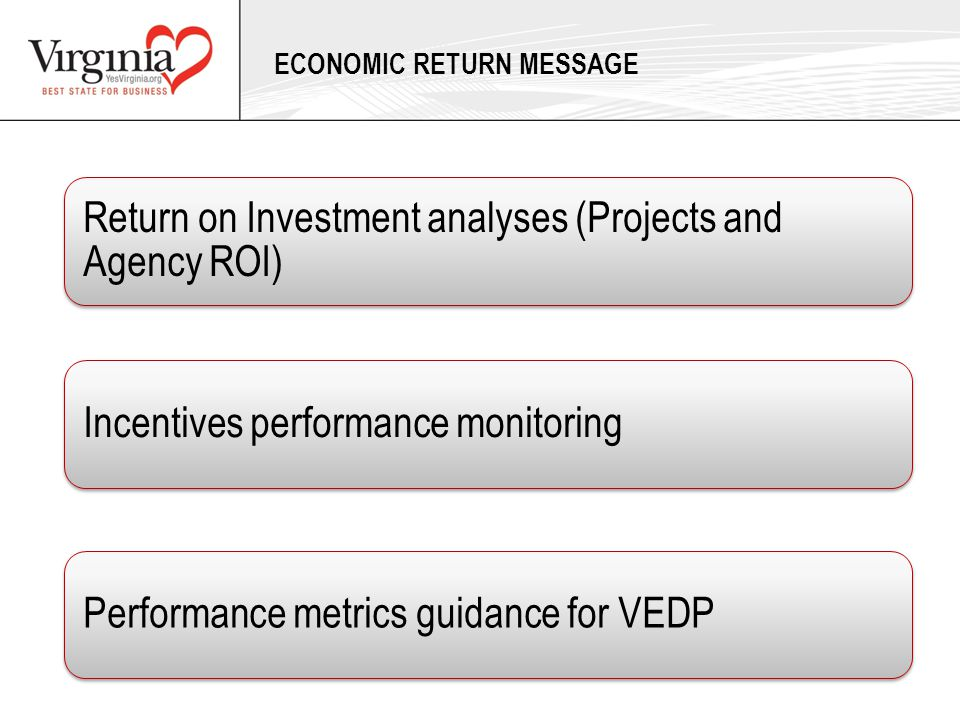 ECONOMIC RETURN MESSAGE Return on Investment analyses (Projects and Agency ROI) Incentives performance monitoringPerformance metrics guidance for VEDP
