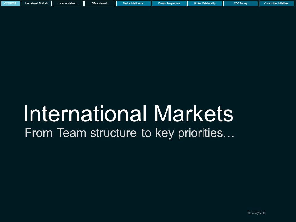 © Lloyd's International Markets From Team structure to key priorities… International MarketsLicence NetworkMarket IntelligenceEvents ProgrammeBroker RelationshipCEO SurveyCoverholder InitiativesCONTENTOffice Network