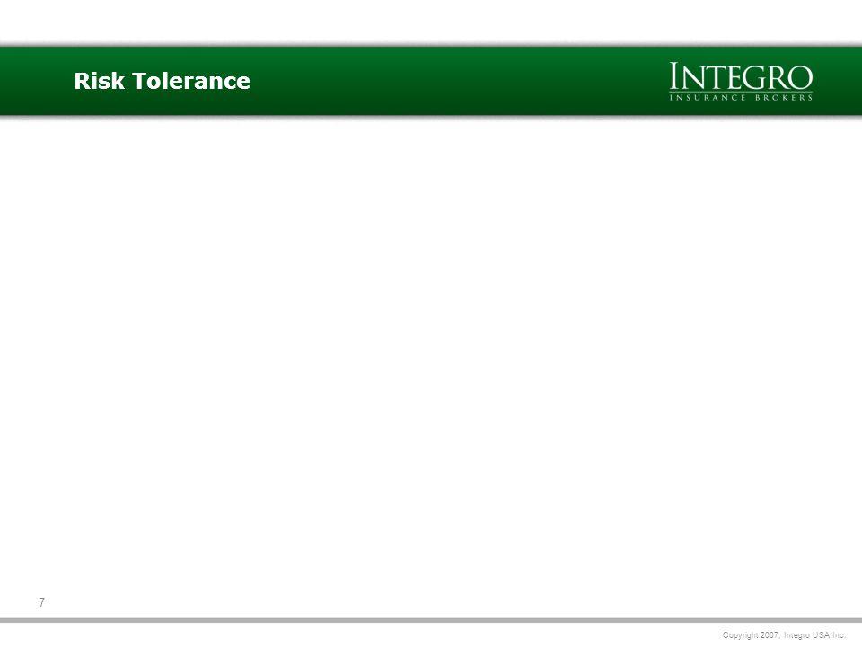 Copyright 2007, Integro USA Inc. 7 Risk Tolerance